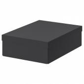 ТЬЕНА Коробка с крышкой, черный, 25x35x10 см