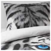 УРСКОГ Пододеяльник и 1 наволочка,тигр,серый