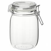 КОРКЕН Банка с крышкой, прозрачное стекло, 1 л