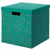 ТЬЕНА Коробка с крышкой, зеленый точечный, 30x30x30 см