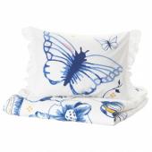 СОНГЛЭРКА Пододеяльник и 1 наволочка,бабочка,белый синий