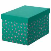 ТЬЕНА Коробка с крышкой, зеленый точечный, 18x25x15 см