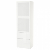 БЕСТО Комбинация д/хранения+стекл дверц, белый, Сельсвикен глянцевый/белый матовое стекло, 60x42x193 см