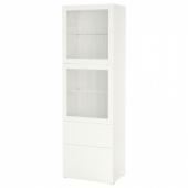 БЕСТО Комбинация д/хранения+стекл дверц, белый, Лаппвикен белый прозрачное стекло, 60x42x193 см