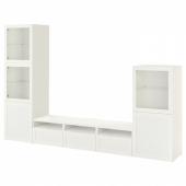БЕСТО Шкаф для ТВ, комбин/стеклян дверцы, белый, Ханвикен белый прозрачное стекло, 300x42x193 см