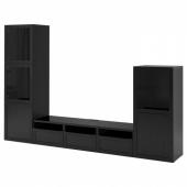БЕСТО Шкаф для ТВ, комбин/стеклян дверцы, черно-коричневый, Ханвикен черно-коричневый прозрачное стекло, 300x42x193 см
