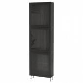 БЕСТО Комбинация д/хранения+стекл дверц, черно-коричневый, синдвик/сталларп черно-коричневый прозрачное стекло, 60x22x202 см